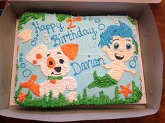 Bubble Guppies birthday cake - 1/2 sheet cake decorated with buttercream