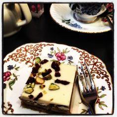 Pistachio & Cranberry Millionaire's Shortbread at Cordial and Grace