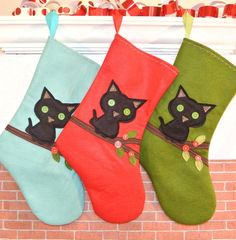 Black Cat Berry Branch Christmas Stocking in by AllenbriteStudio