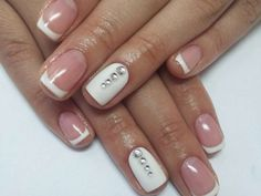 White French mani with rhinestones :: one1lady.com :: #nail #nails #nailart #manicure