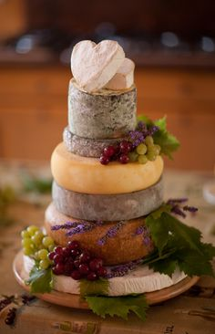 "Cheese (French Style) - Alternative Wedding or Anniversary Cake. (This is the perfect idea for my wedding in the future, substitute the cheeses with ""cheese-cake"", I'm not really a ""cake"" type of girl  this is beautiful, for the fall wedding I'd like to have =D)"