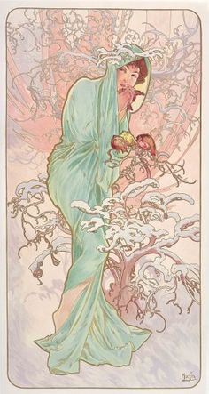 """art poster """"The Seasons: Winter"""" by Alphonse Mucha. A dark haired woman wrapped in pale green drapery and surrounded by snow-covered branches holds a small bird in her hands (1896)"""