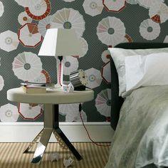 Modern wallpaper: Cole & Son 'Tamarisk' parasol paper + fabulous silver table by xJavierx, via Flickr
