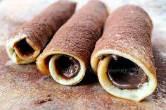 Nutella - Cannoli di pancake alla nutella ricetta veloce, facile, dolce da colazione in poco tempo, idea per feste e buffet, ricetta golosa, rotolini con pancake, cannoncini