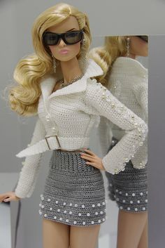 nice OOAK Fashion Set Outfit Fall& for Fashion Royalty Poppy Parker by Gemi. Crochet Doll Dress, Crochet Barbie Clothes, Knitted Dolls, Moda Barbie, Barbie Mode, Accessoires Barbie, Beautiful Barbie Dolls, Barbie Patterns, Barbie Dress