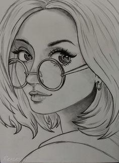 Anime girl draw Anime draw my art rexcespet Girl Drawing Sketches, Girly Drawings, Art Drawings Sketches Simple, Pencil Art Drawings, Cool Drawings, Drawing Ideas, Girl Sketch, Sketch Art, Drawing Art