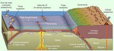 """Los bordes de las placas es donde hay mayor actividad tectónica. Hay 3 clases de límites: -Divergentes: las placas se separan unas de otras y por lo tanto emerge magma del interior. -Convergentes: una placa choca contra otra, formando una zona de subducción (la placa oceánica se hunde bajo la continental) o un cinturón orogénico (las placas chocan y se comprimen) -Transformantes: los bordes se deslizan. A estos se les llama """"fallas"""" #tectonicaplacas #fallas"""