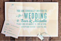 Vintage Wedding Invitation  Modern Map Wedding by ellothere, $6.00