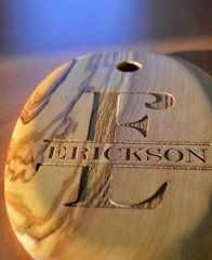 Laser Engraved Monogram Olive Wood Serving Board