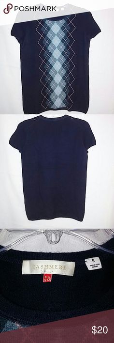 Womens Cashmere argyle short sleeve top Extremely soft dark and light blue cashmere top in perfect condition. cashmere Tops