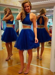 Sexy Scoop Tulle Beaded Backless Royal Blue Two Piece Short Cocktail Party Prom Dress