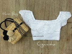 Croche | cropped | top | branco | ciganinha | de manga