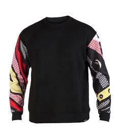 L.A.T.H.C. Comfortable and warm feel Red, yellow and black contrasting design on sleeves Round neck Soft inner fleece