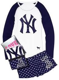 NY Yankees lounge clothes from Pink.  #VSPINK #NYCLove #ElleMagazine #ILOVENYC #NYC