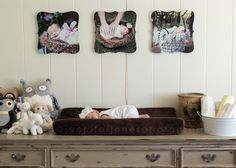 Adair's Gender Neutral, Vintage Lamb Themed Baby Nursery in CeCe Caldwell's Young Kanses Wheat | Painted Furniture | Distressed | Upcycle | Newborn | Farmhouse chic | owls | handmade quilt | CeCe Caldwell's Paints | refinished crib | painted crib | picture boards | newborn photography | baby photography