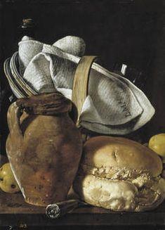 """Bodegón con cantarilla, pan y cesta con objetos de mesa"", Luis Egidio Meléndez, 1760"