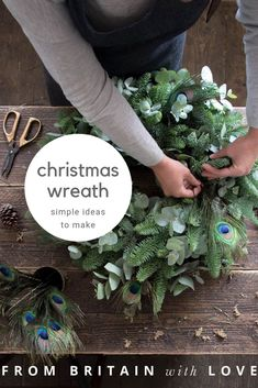 Make a contemporary Christmas wreath - From Britain with Love Diy Christmas Garland, Christmas Wreaths To Make, Christmas Gift Wrapping, Plaid Christmas, How To Make Wreaths, Holiday Wreaths, Holiday Ideas, Christmas Holidays, Christmas Ideas