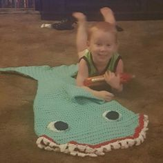 Chase, 3 Year Old Toddler showing off his new Mini Crochet Shark