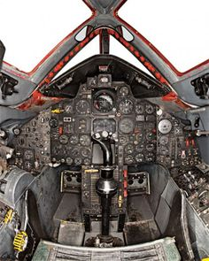 F-117A STEALTH JET COCKPIT INTERIOR VIEW OF INSTRUMENT PANEL AND JOYSTICK