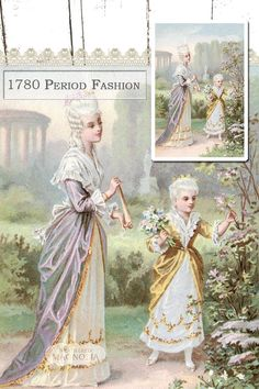 1780 Period Fashion - Georgian Dress - Instant Digital Download - Printable Vintage Image - Garden Mother Child Illustration - Shabby Chic