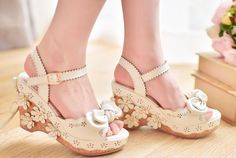 Japanese Lolita Bows Lace Flower Strap High-Heeled Shoes