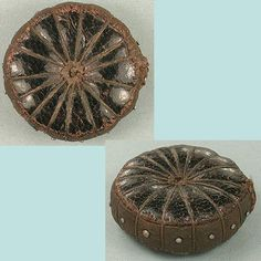 Antique Hand Stitched Leather Pin Cushion Disc * English * Circa 1850