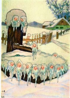 Illustration by Nora Scholly, here is a beautiful frozen fountain where the thin icicles were transformed by magic into small gnomes long beard