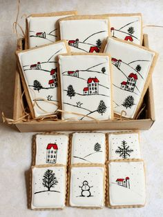 Christmas card inspired cookies! Learn how to make this simple design with just a toothpick and some food coloring!