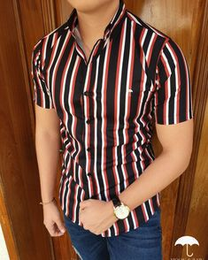Classy Outfits For Teens, Stylish Mens Outfits, Casual Outfits, Outfits With Striped Shirts, Casual Shirts For Men, Men Casual, Kids Indian Wear, Camisa Floral, Moda Formal