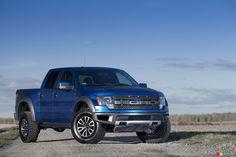 Blue 2012 Ford Raptor SVT off-road truck