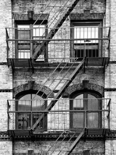 Fire Escape, Stairway on Manhattan Building, New York, United States, Black and White Photography Fotoprint