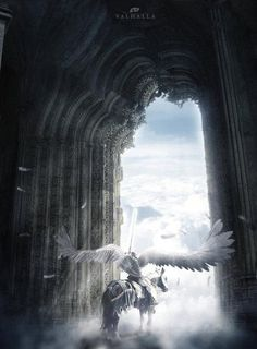 Valkyrie at the gates of Valhalla