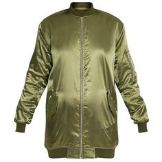 Cruz Khaki Satin Longline Oversized Bomber Jacket (€25) ❤ liked on Polyvore featuring outerwear, jackets, blouson jacket, green flight jacket, green khaki jacket, long line jacket and satin bomber jacket
