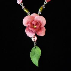 Unusual Pink Orchid Flower Statement Necklace, Hand Sculpted Polymer Clay with Button and Czech Glass Beaded Accents, Bright Silver Finish
