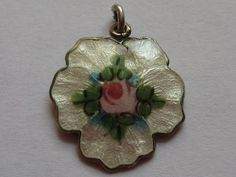 VTG STERLING SILVER GUILLOCHE ENAMEL PANSY CHARM w/ HAND PAINTED PINK ROSE