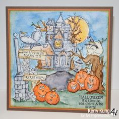 Art Impressions Rubber Stamps:Haunted House Try Folds (SKU#4688)  Watercolor card using TryFold stamps. Handmade Halloween card. pumpkins, jack-o-lanterns, black cat, ravens, crows, full moon, spooky