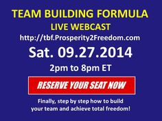 REVEALED LIVE: Downline Building Secrets for Duplication in Your Network Marketing Business that Drive Success, 20, 30, even 50 Levels Deep!  Reserve Your Seat Now  http://tbf.prosperity2freedom.com/