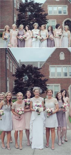 Southern wedding filled with beauty by a budget savvy bride. Captured by: Alea Moore Photography www. Mismatched Bridesmaid Dresses, Bridesmaids And Groomsmen, Wedding Bridesmaids, Wedding Attire, Wedding Dresses, Bridesmaid Colours, Pastel Bridesmaids, Romantic Dresses, Beautiful Dresses