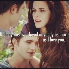 I cry whenever I see this because I know that it's over. I wish it wasn't over.. But all good things come to an end<3 I'm like crying as in writing this. I'm just a devoted Twihard that doesn't want to see her movies end:( Edward and Bella have such a powerful relationship that I just wanted to see their life continue. They have until FOREVER <3 RIP TWILIGHT.. You will be missed<3 love ya!