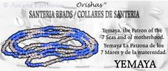 SANTERIA BEAD NECKLACE YEMAYA BLUE & CLEAR Wicca Witch Pagan Goth ORISHAS
