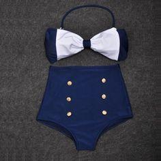 Vintage Retro Pin Up High Waisted Bikini Bow Top +Bottom Swimsuit Blue White SML