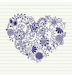 Floral heart heart made of flowers doodle heart vector by Millisenta on VectorStock®