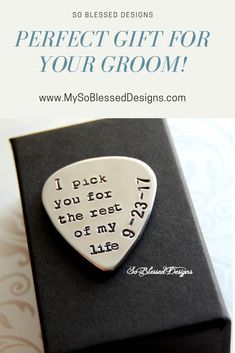 Give your groom or bride this custom hand stamped guitar pick as a wedding gift. Your wedding date is stamped along the edge of. Guitar Picks Personalized, Custom Guitar Picks, Custom Guitars, Wedding Gifts For Bride, On Your Wedding Day, Destination Wedding Invitations, Wedding Planning, Wedding Ideas, Wedding Inspiration