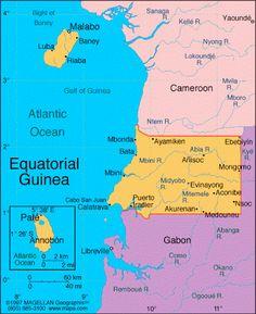 Mapa Guinea Ecuatorial.- El Muni.