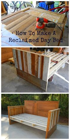 Antebellum How To Make a Reclaimed Wood Day Bed This would be awesome for the deck. Summer nights could just turn amazing.