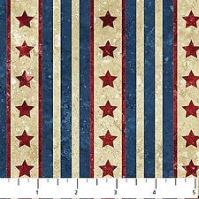 STONEHENGE RED STARS WITH BLUE & WHITE STRIPES FABRIC - 20161-49-Navy-Northcott