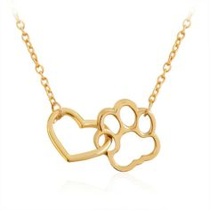Stylish Hollow Pet Paw Footprint and Heart Combo Necklace