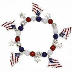 USA Theme Red White Blue American Flag Beaded Stretch Bracelet $15.99 pammyjfashions.com
