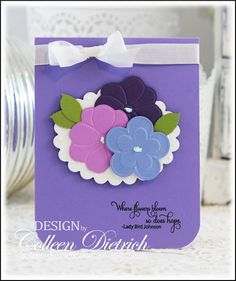 Clean and simple card using flower die cuts and Inspired By Stamping sentiment.