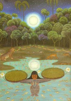 Lenda da vitória-régia | Lenda brasileira de origem indígena tupi-guarani. Há muitos anos antes de Cristo, em uma tribo indígena, contava-se que a lua (Jaci, para os índios) era uma deusa que ao despontar a noite, beijava e enchia de luz os rostos das mais belas virgens índias da aldeia - as cunhantãs-moças. Sempre que ela se escondia atrás das montanhas, levava para si as moças de sua preferência e as transformava em estrelas no firmamento.